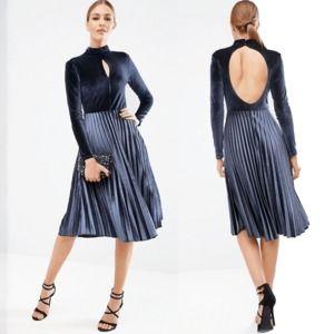 ASOS Blue Velvet High Neck Midi Pleated Dress